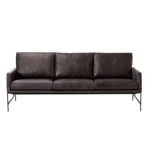Vanessa 3 Seater Sofa - Destroyed Black Leather