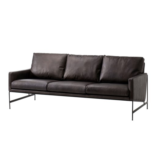 Vanessa 3 Seater Sofa Destroyed Black Leather Sofas Sonder Living
