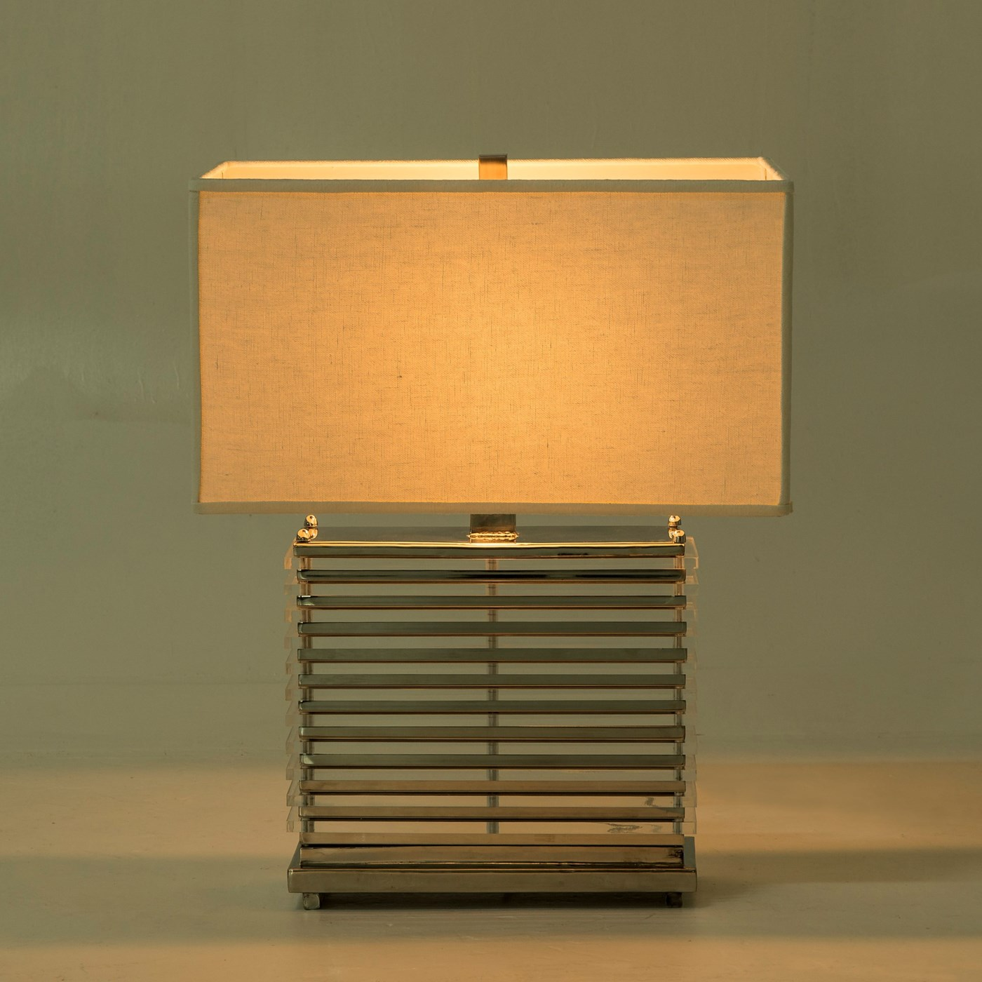 Stack Table Lamp - Nickel / White Shade / 120v US