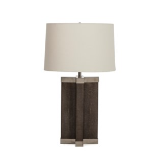 Shagreen Lamp - Grey / White Shade / 120v US
