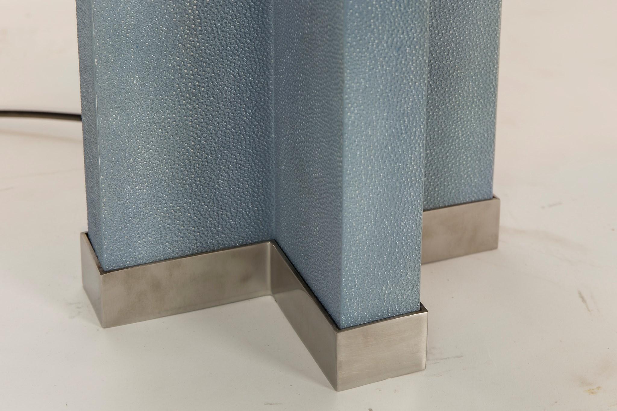 Shagreen Lamp - Baby Blue / White Shade / 120v US