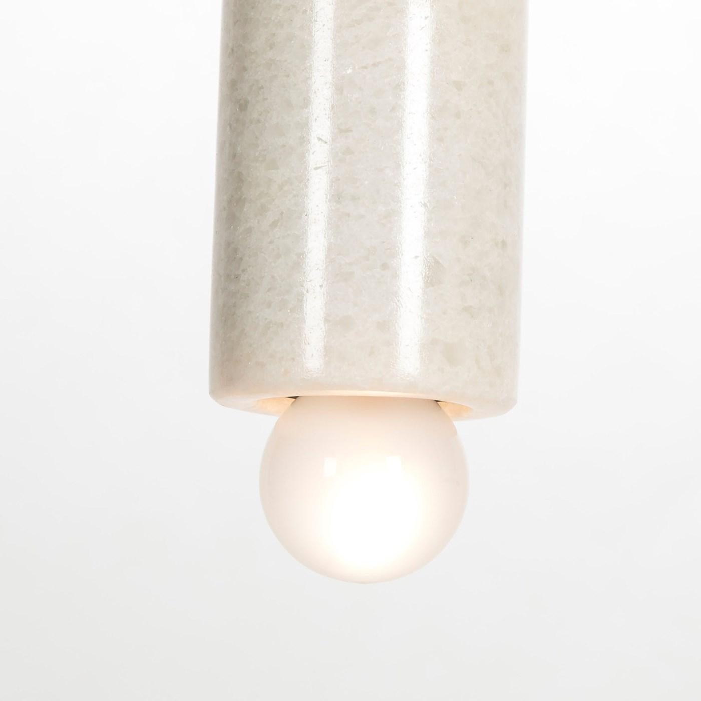 Marble Tube Pendant - White / 120v US
