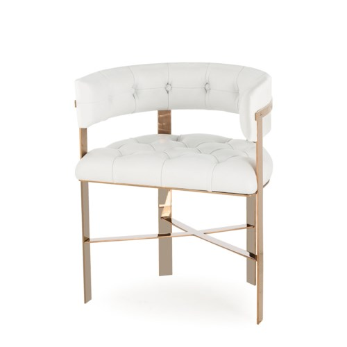 Art Dining Chair Tufted - Mirrored Brass / Fallon White