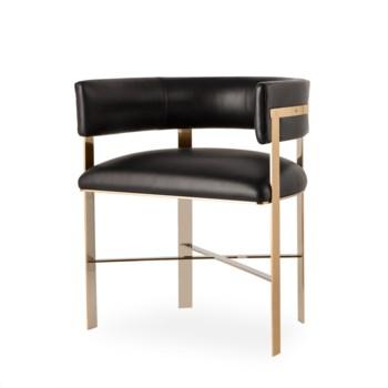 Art Dining Chair - Mirrored Brass / Faith Onyx Leather