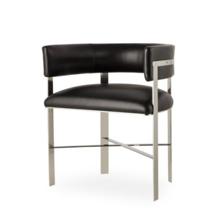 Art Dining Chair - Stainless Steel / Faith Onyx Leather