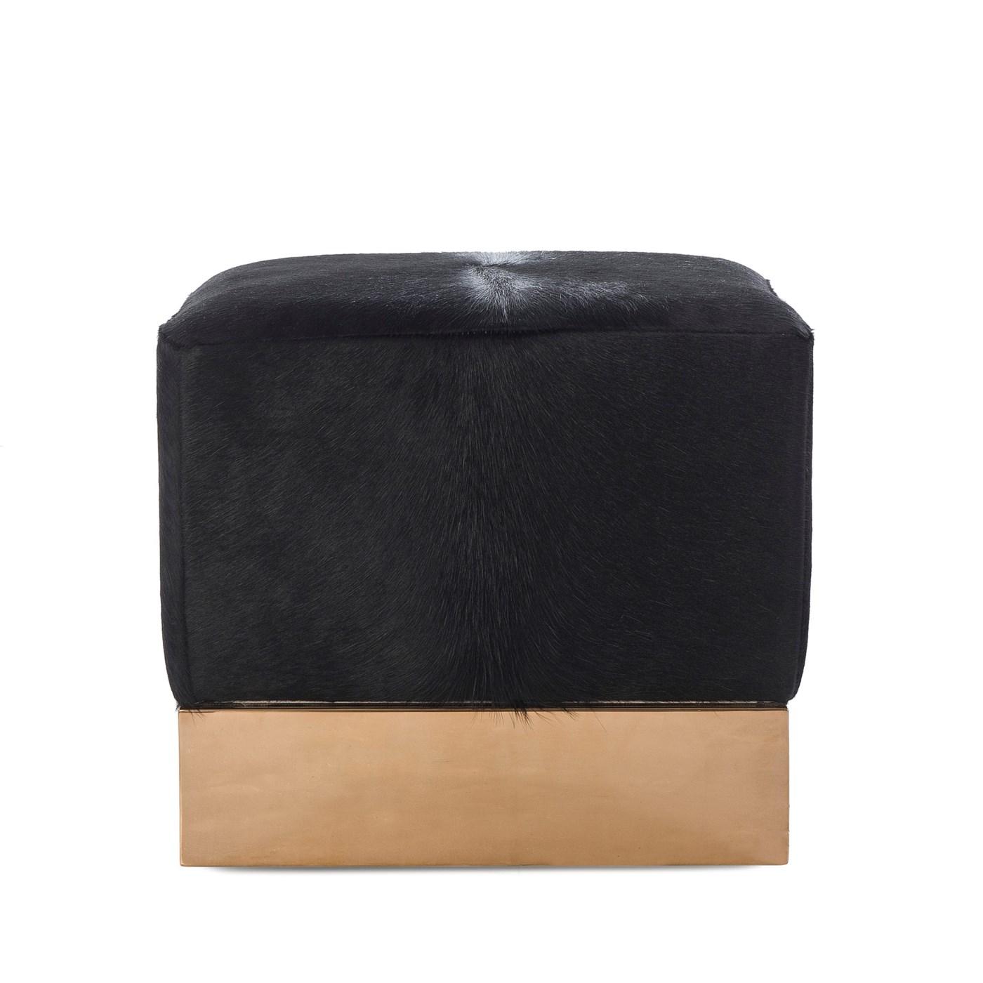 Morrison Ottoman - Square / Farrah Black Leather