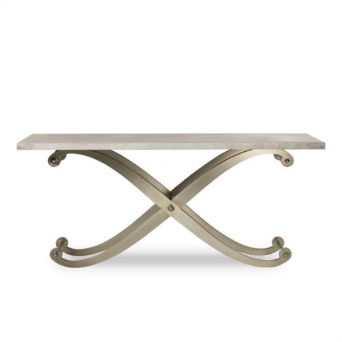 Elizabeth Console Table - Shagreen Top/ Stainless Steel Legs