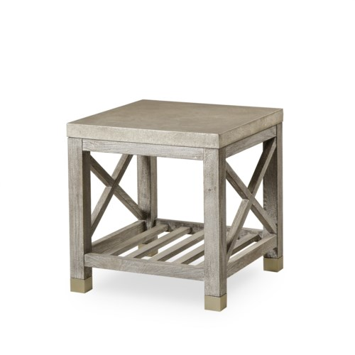 Percival Side Table - Shagreen Top / Champagne Shagreen & Grey Washed