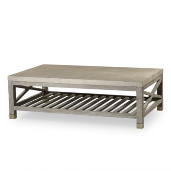 Percival Coffee Table - Shagreen Top / Champagne Shagreen & Grey Washed