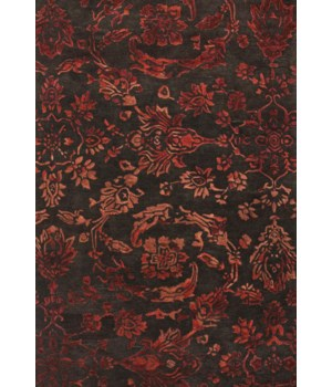 "MAHSA 8402F IN CHOCOLATE/RED 3'-6"" x 5'-6"""