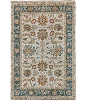 BHATIA 6344F IN IVORY/MEDIUM BLUE 4' x 6'
