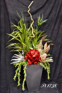 GRASSES & NATURALS IN METAL PLANTER