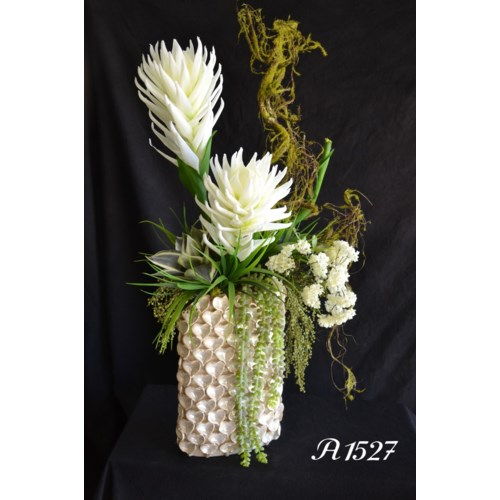 PROTEA, BROMELIAD AND SNOWBALL CENTERPIECE