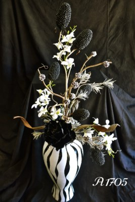 ZEBRA VASE W/ ORCHIDS & QUEEN FLOWER