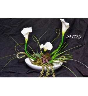WHITE CALLAS & SEDUM CENTERPIECE
