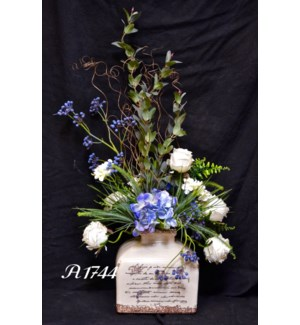 WHITE ROSE HUCKLEBERRY & HYDRANGEA ARRANGEMENT