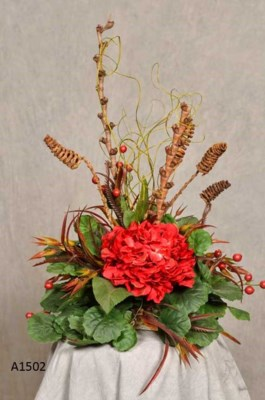 RED HYDRANGEA AND WILD OAT CENTERPIECE TILE TOPPER