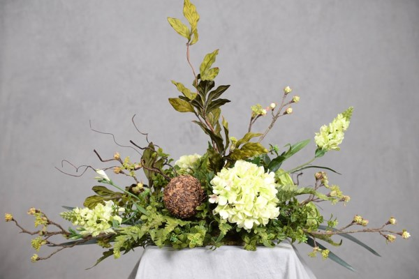 GREEN HYDRANGEA, FREESIA & SNAPDRAGON CENTERPIECE