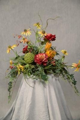 CONEFLOWER & MUM TILE TOPPER