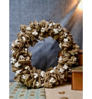 BURLAP & COTTON POD WALL WREATH