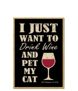 Drink wine, Pet cat Magnet
