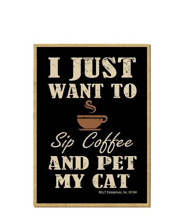 Drink offee, Pet Cat Magnet