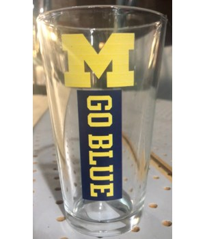 U of M Drinkware Stripe Pint Glass 16oz