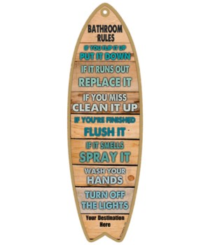 Bathroom Rules - Wood plank themed - gre