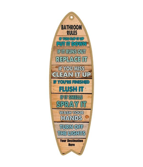 Bathroom Rules - Wood plank themed - gre