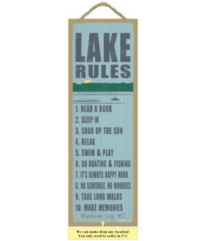 Lake rules (lake image) 5 x 15 Sign