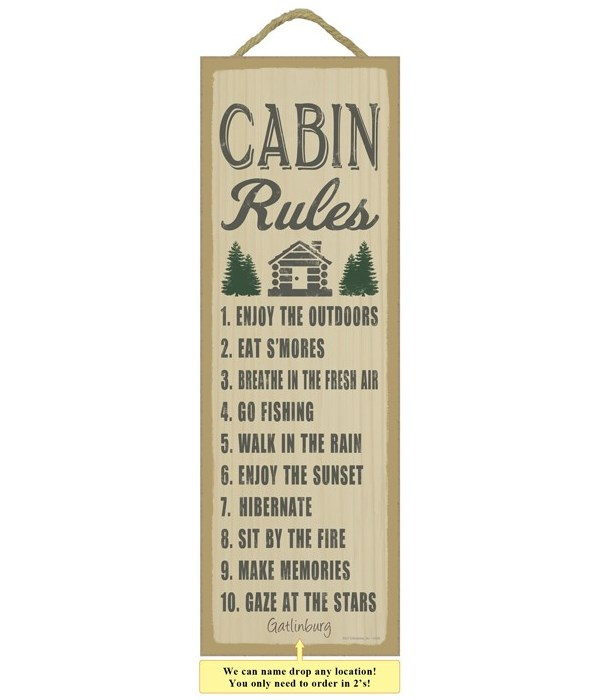 Cabin Rules (cabin & tree image) 5 x 15