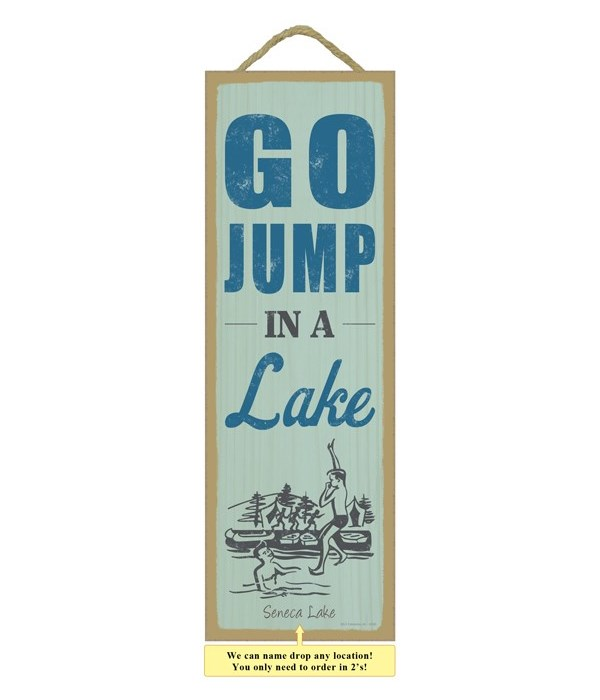 Go jump in a lake (people jumping in lake image)