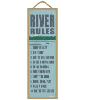 River rules (river image) 5 x 15 Sign