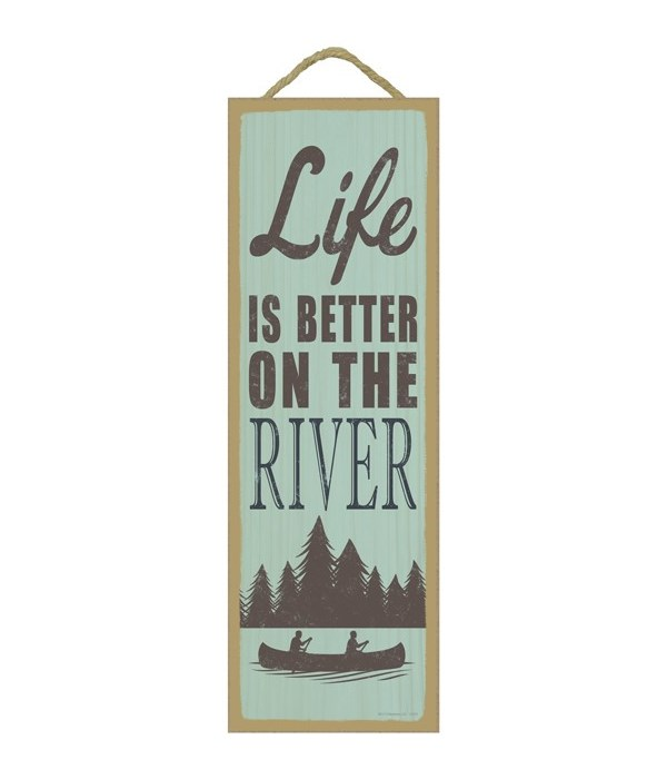 Life is better on the river (tree & boat image)
