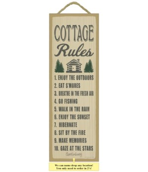 Cottage Rules (cottage & tree image) 5 x