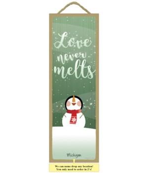 """Love never melts 5 x 15"""""""