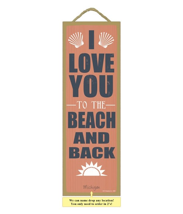 I Love you to the beach and back - Orange Background with Seashells and Sun graphics