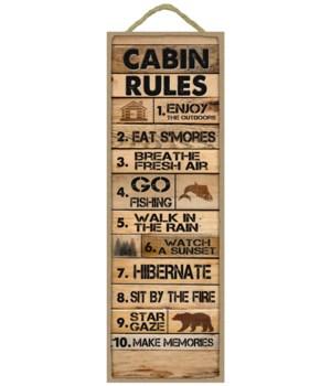 Cabin Rules: 1-10 list (Rustic wood plan