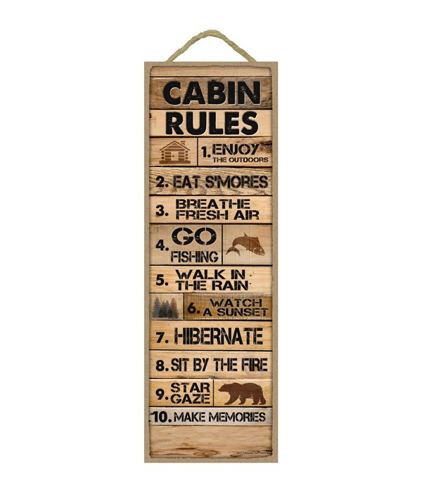 Cabin Rules: 1-10 list (Rustic wood planks)