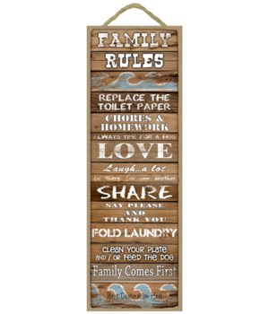 Family Rules: Replace Toilet Paper…/ Family Comes First (wood planks w/waves)