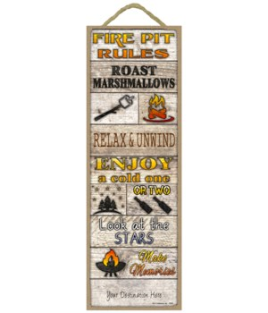 Fire Pit Rules - Rustic wood planks - fi