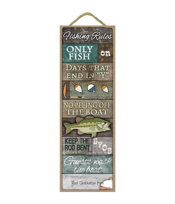 Fishing Rules: Large fish w/ rustic wood planks. Fishing bait and tackle