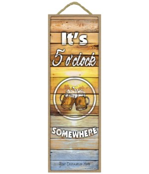 It's 5 o'clock somewhere - Lake sunset w/beer clipart  (wood planks)