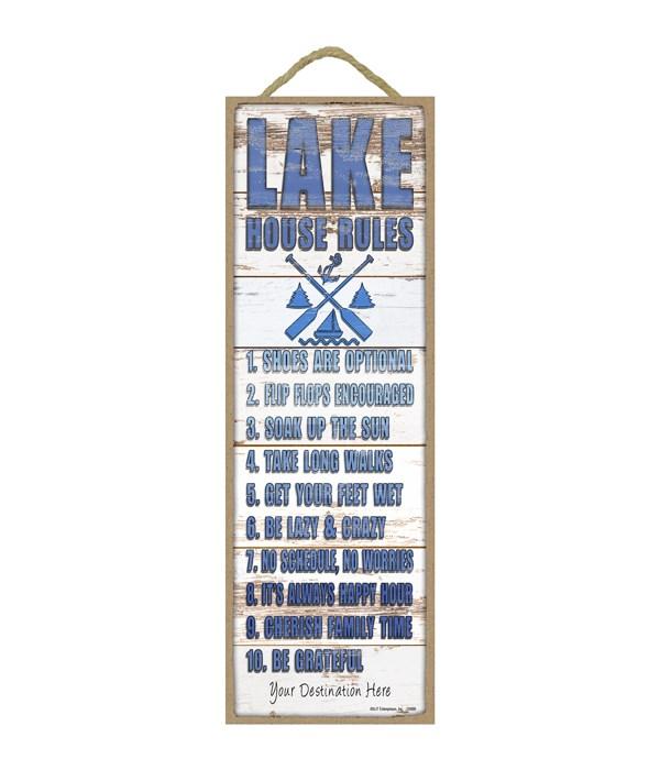 Lake House Rules: 1-10 rules list (rustic wood planks - lake themed)
