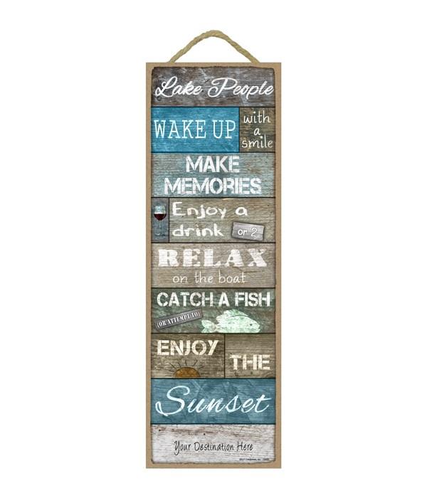 Lake People - montage list of lake themed words (rustic / weathered wood planks)