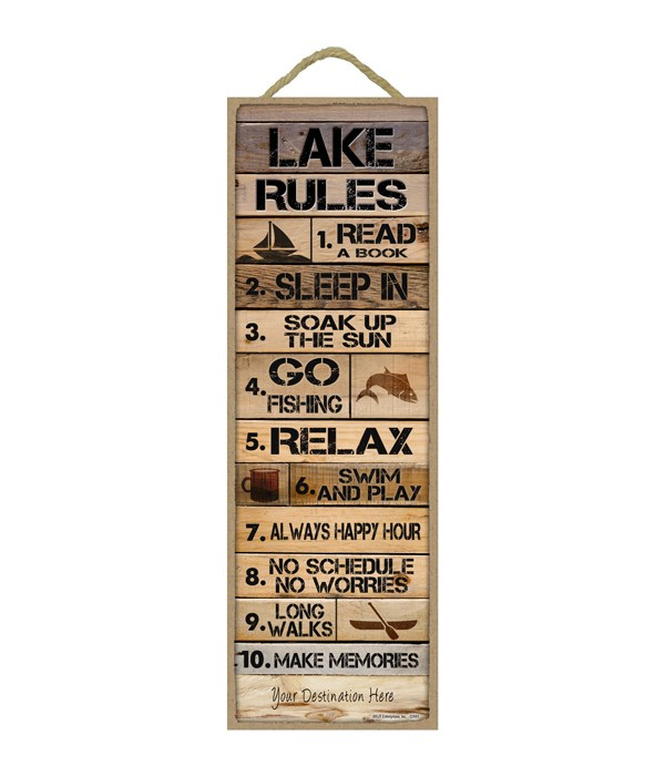 Lake Rules: 1-10 list (Rustic wood planks w/ lake themed objects)