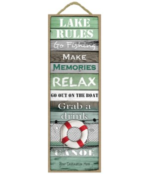 Lake Rules: Lake themed words / red and white lifesaver (Green rustic wood planks with a lake theme)