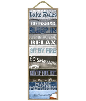 Lake Rules: Lake themed words / Fishing theme (Blue rustic wood planks with a lake theme)