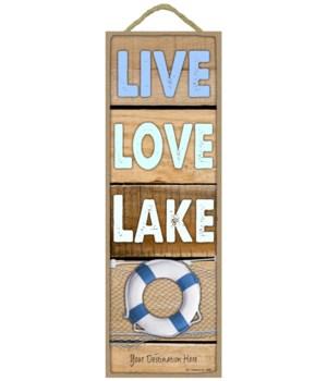Live - Love - Lake (woods planks w/blue