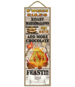 S'mores Rules: Fire pit / s'more theme (rustic wood planks)